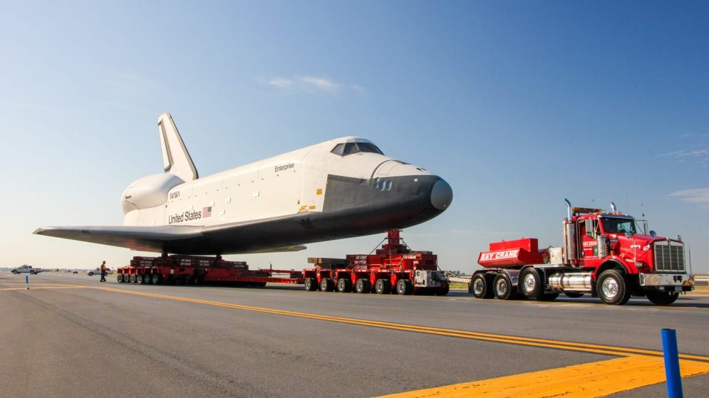 Truck moving space shuttle