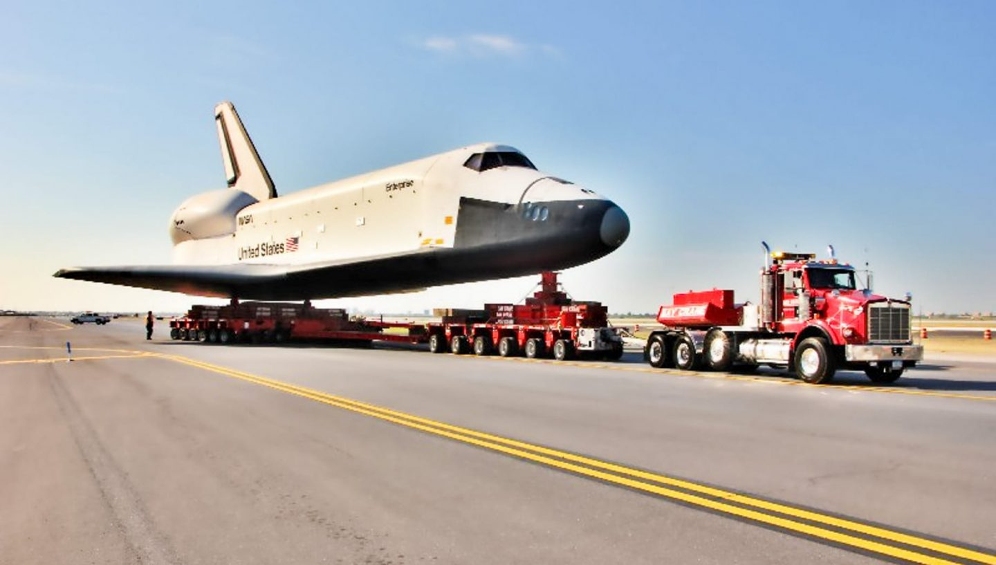 Truck transporting space shuttle